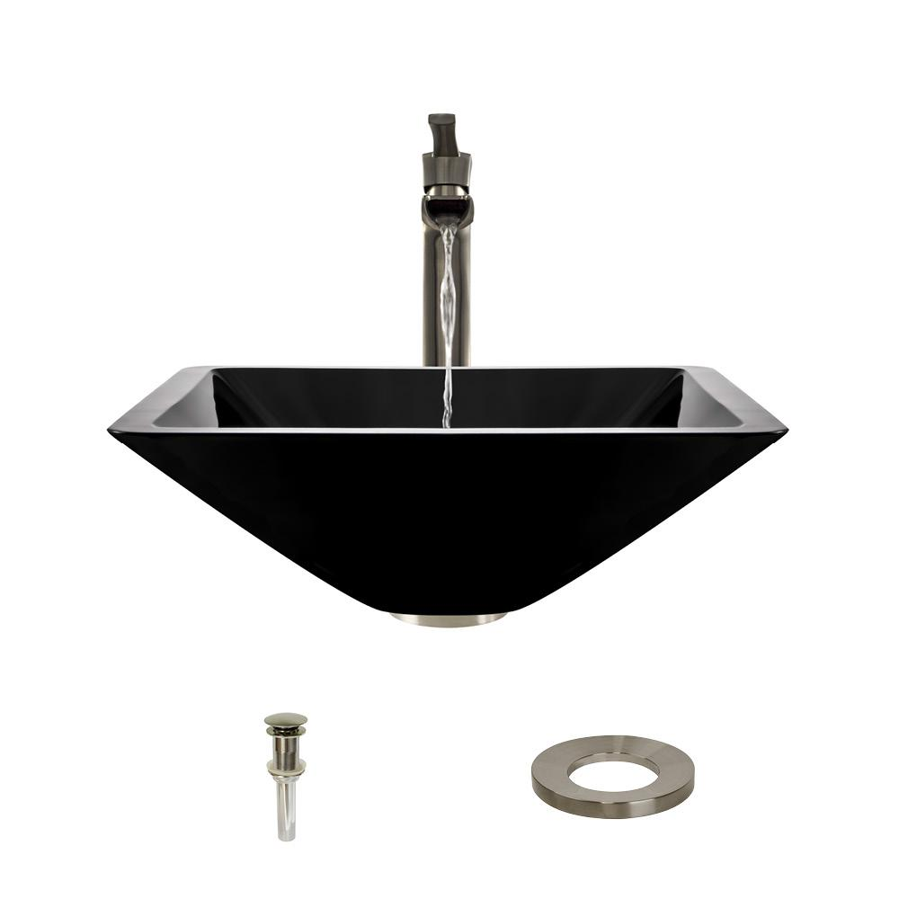 MR Direct Glass Vessel Sink in Black with 731 Faucet and Pop-Up ...