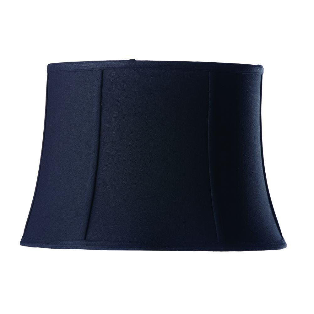 Home Decorators Collection Tapered Small 14 in. Diameter Black Linen Drum Shades