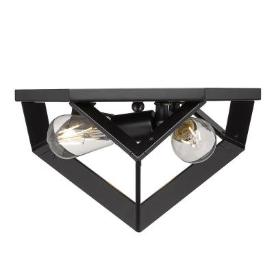 Architect 13 in. 3-Light Black Flush Mount
