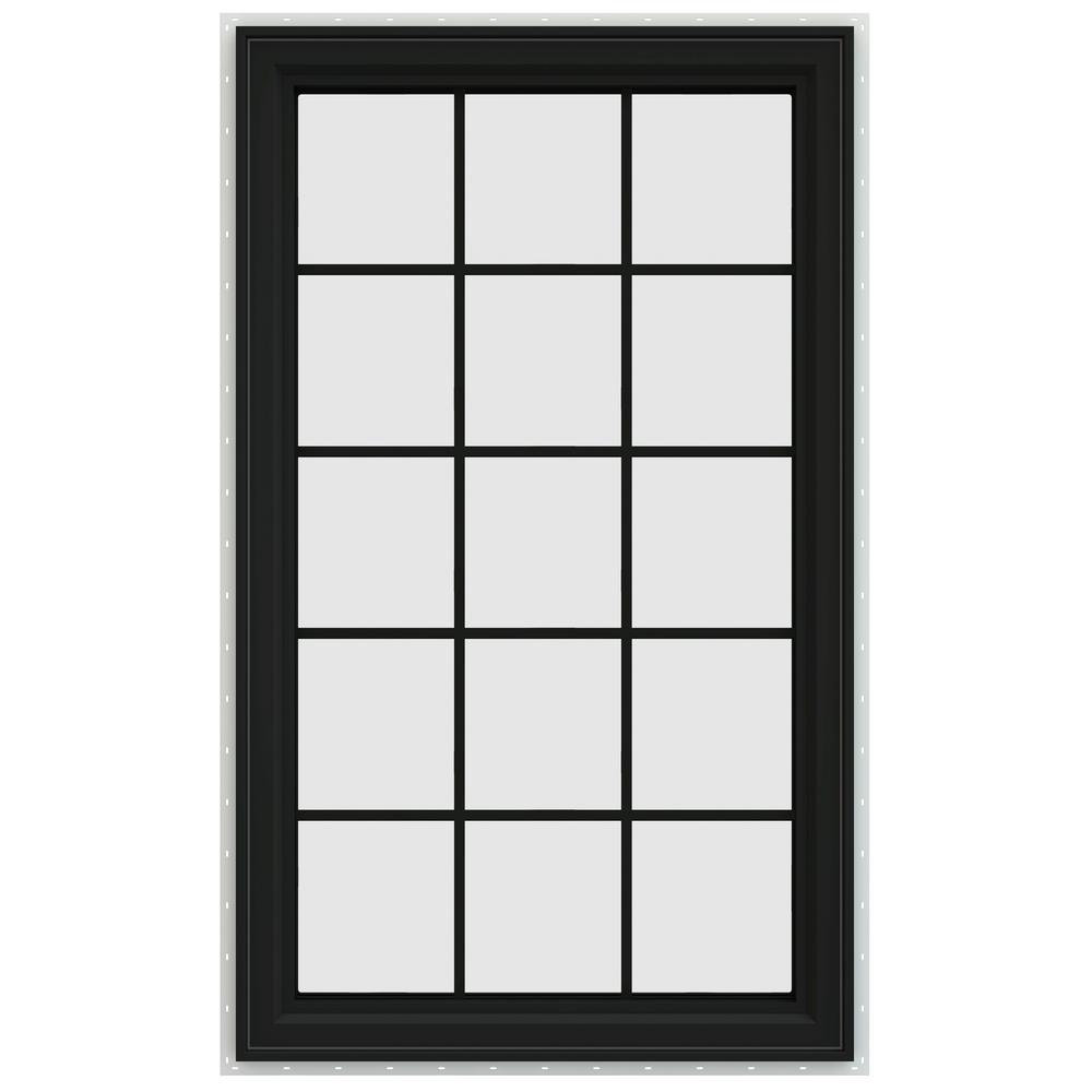 35.5 in. x 59.5 in. V-4500 Series Left-Hand Casement Vinyl Window with Grids - Bronze