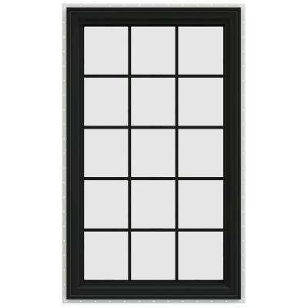 35.5 in. x 59.5 in. V-4500 Series Right-Hand Casement Vinyl Window with Grids - Bronze