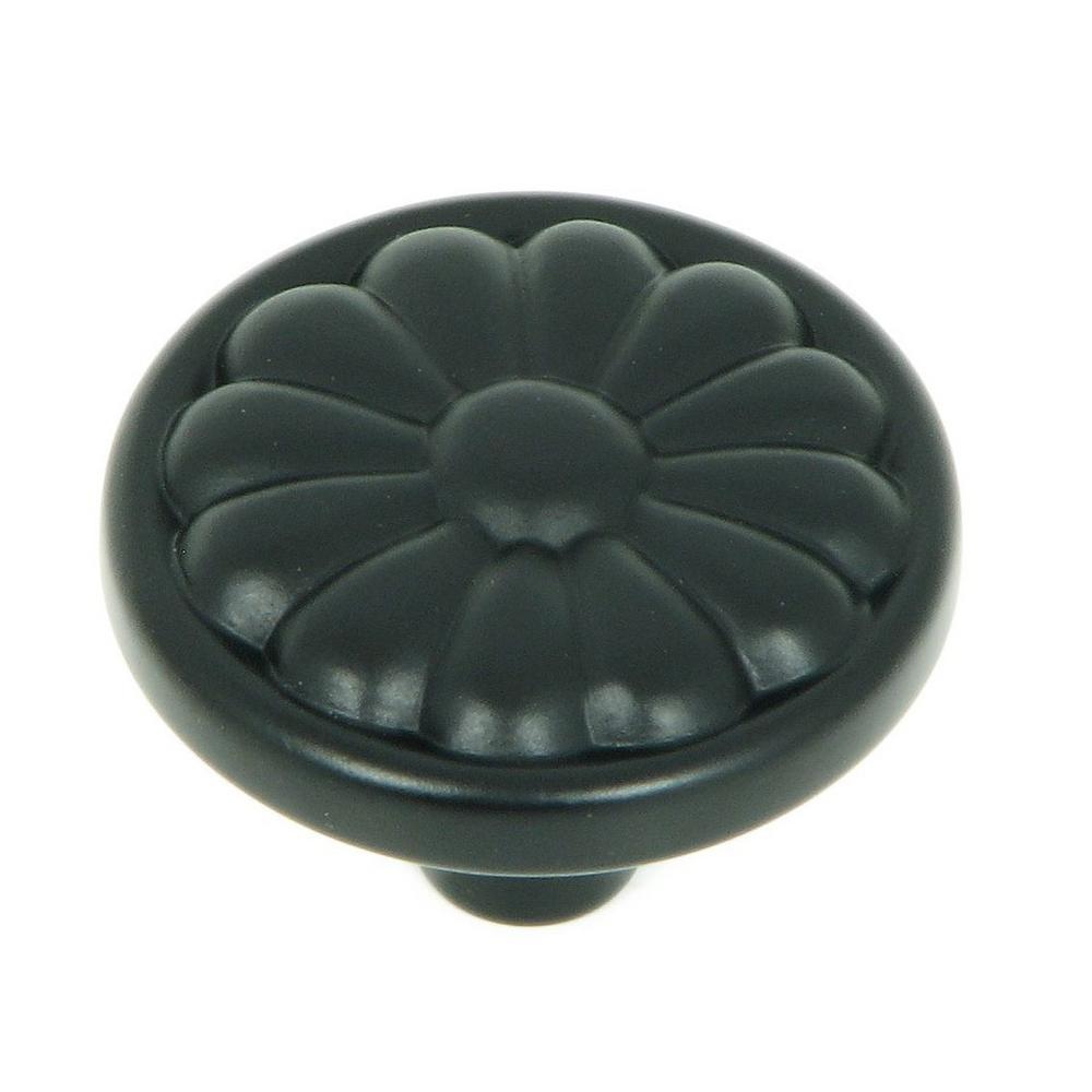 Holland 1-1/4 in. Matte Black Round Cabinet Knob (25-Pack)