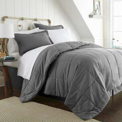 Bed In A Bag Performance Gray California King 8-Piece Bedding Set