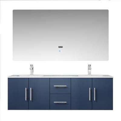 Geneva 60 in. W Vanity in Navy Blue with Marble Vanity Top in White Carrara w/white square basins, 60 in. LED Mirror