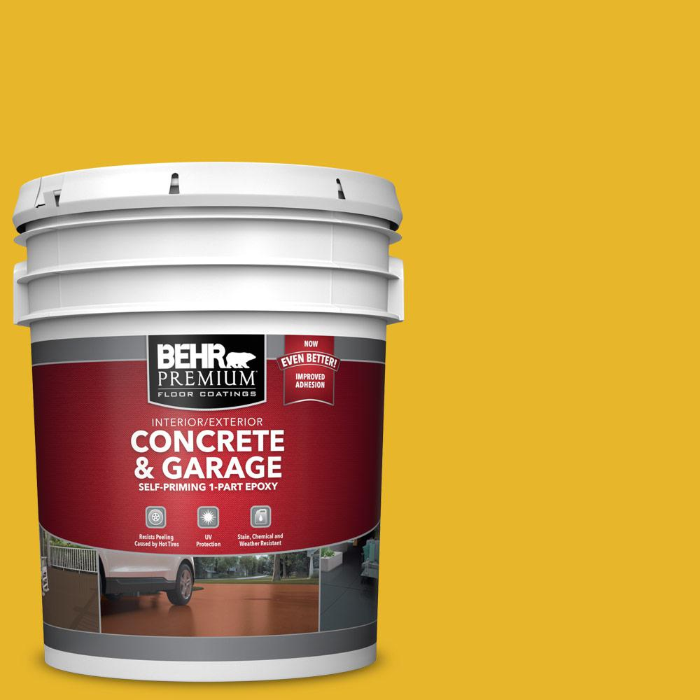 BEHR Premium 5 gal. #OSHA-6 OSHA SAFETY YELLOW Self-Priming 1-Part Epoxy Satin Interior/Exterior Concrete and Garage Floor Paint