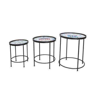 Multicolored Round Floral Patterned Nesting Accent Tables (Set of 3)