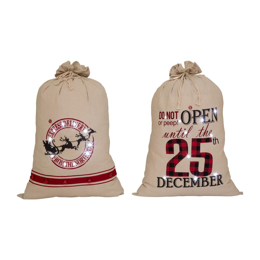 Glitzhome 36 in. H LED Lighted Burlap Christmas Gift Sack (Set of 2)