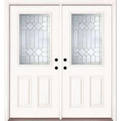 66 in. x 81.625 in. Mission Pointe Zinc 1/2 Lite Unfinished Smooth Left-Hand Fiberglass Double Prehung Front Door