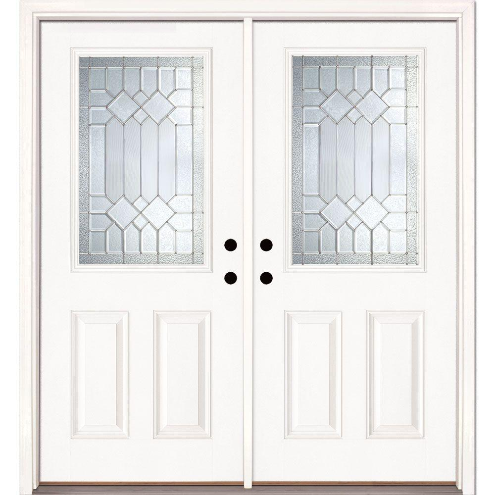 Feather River Doors 74 in. x 81.625 in. Mission Pointe Zinc 1/2 Lite Unfinished Smooth Right-Hand Fiberglass Double Prehung Front Door