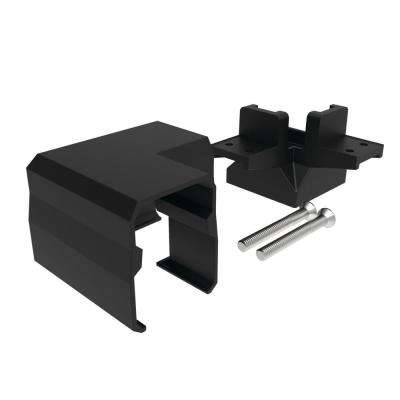 Avalon 2 in. Satin Black Aluminum Tristan Over-the-Top Post Bracket with Corner Post