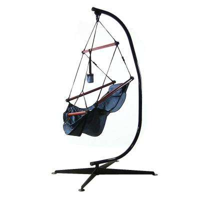 3.75 ft. Fabric Hanging Hammock Chair with Pillow and Drink Holder with Stand in Blue