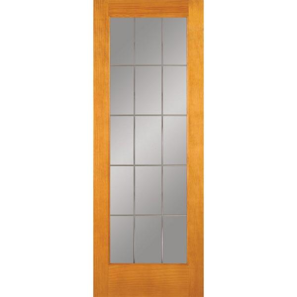 32 in. x 80 in. 15 Lite Illusions Woodgrain Unfinished Pine Interior Door Slab