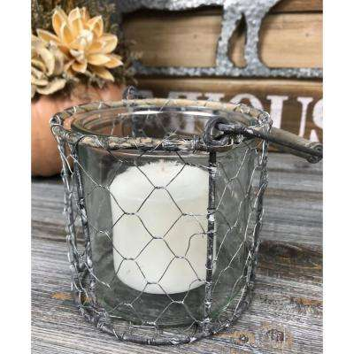 Wired Basket Glass Candle Holder