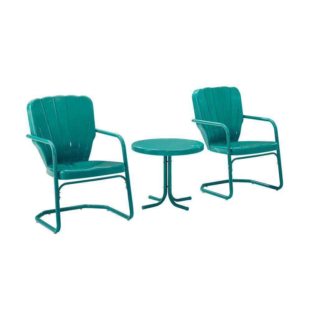Ridgeland Turquoise 3-Piece Metal Patio Conversation Set