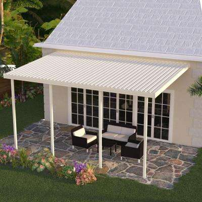 22 ft. x 10 ft. Ivory Aluminum Attached Solid Patio Cover with 5 Posts (20 lbs. Live Load)