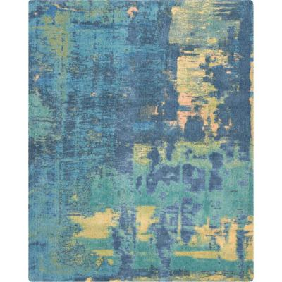 Abstract Shag 8' x 10' Green Multicolor Colorful Area Rug