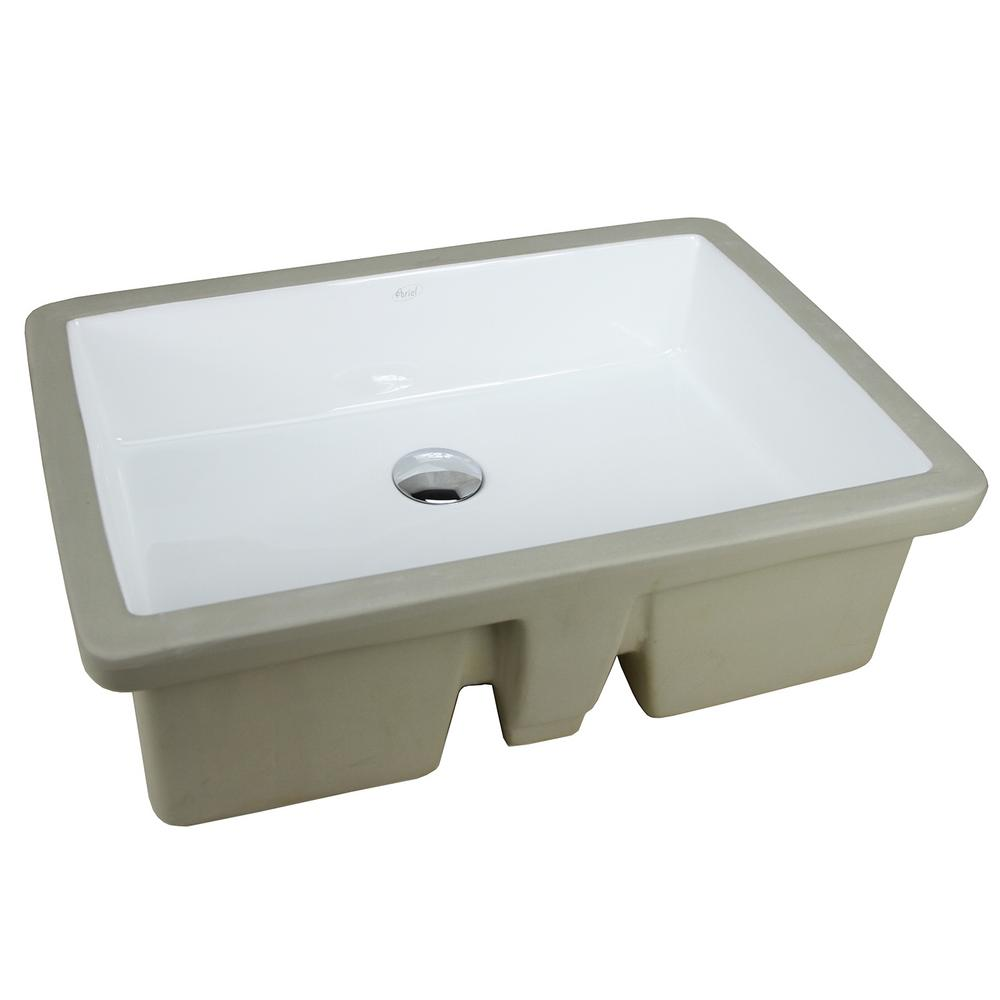 22-1/8 in. x 15-3/4 in. Rectrangle Undermount Vitreous Glazed Ceramic Lavatory