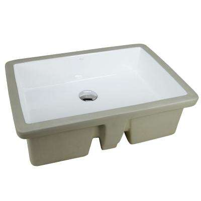 22-1/8 in. x 15-3/4 in. Rectrangle Undermount Vitreous Glazed Ceramic Lavatory Vanity Bathroom Sink Pure White