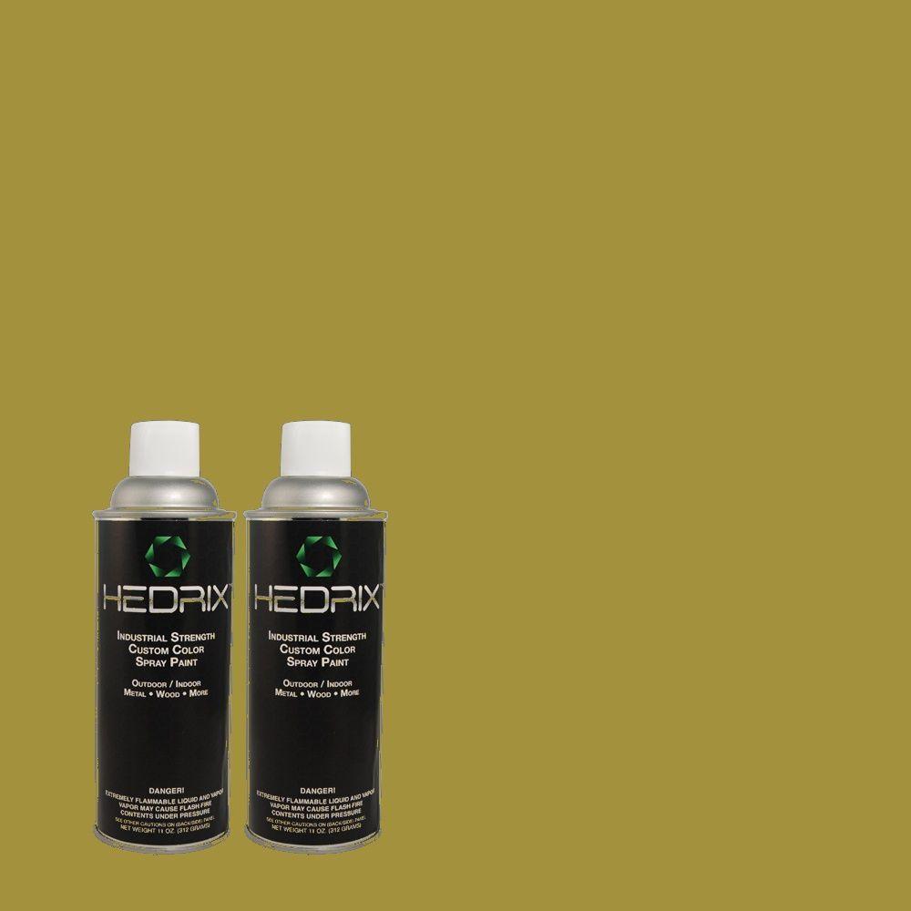 Hedrix 11 oz. Match of PPU9-3 Retro Avocado Flat Custom Spray Paint (8-Pack)