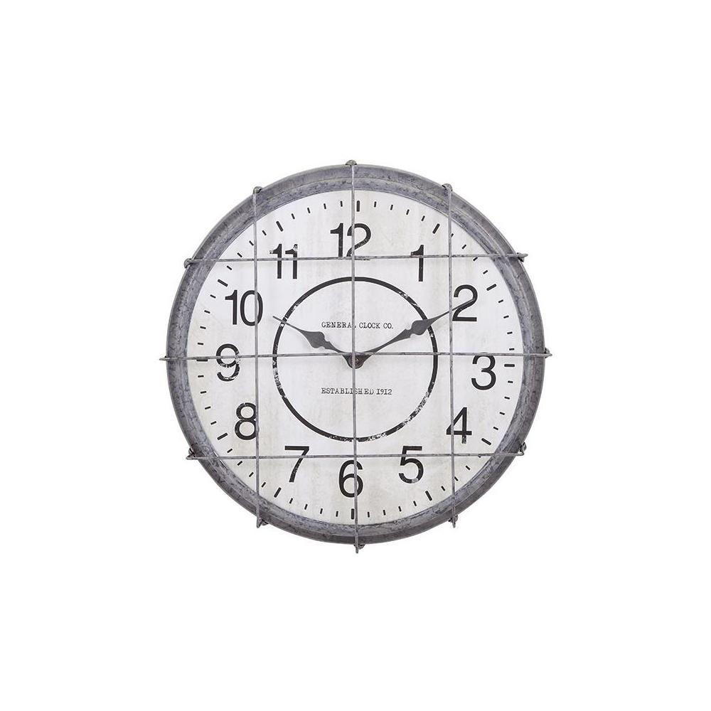 Home Decorators Collection Postal Cage 18 in. x 18 in. Round Wrought Iron Wall Clock