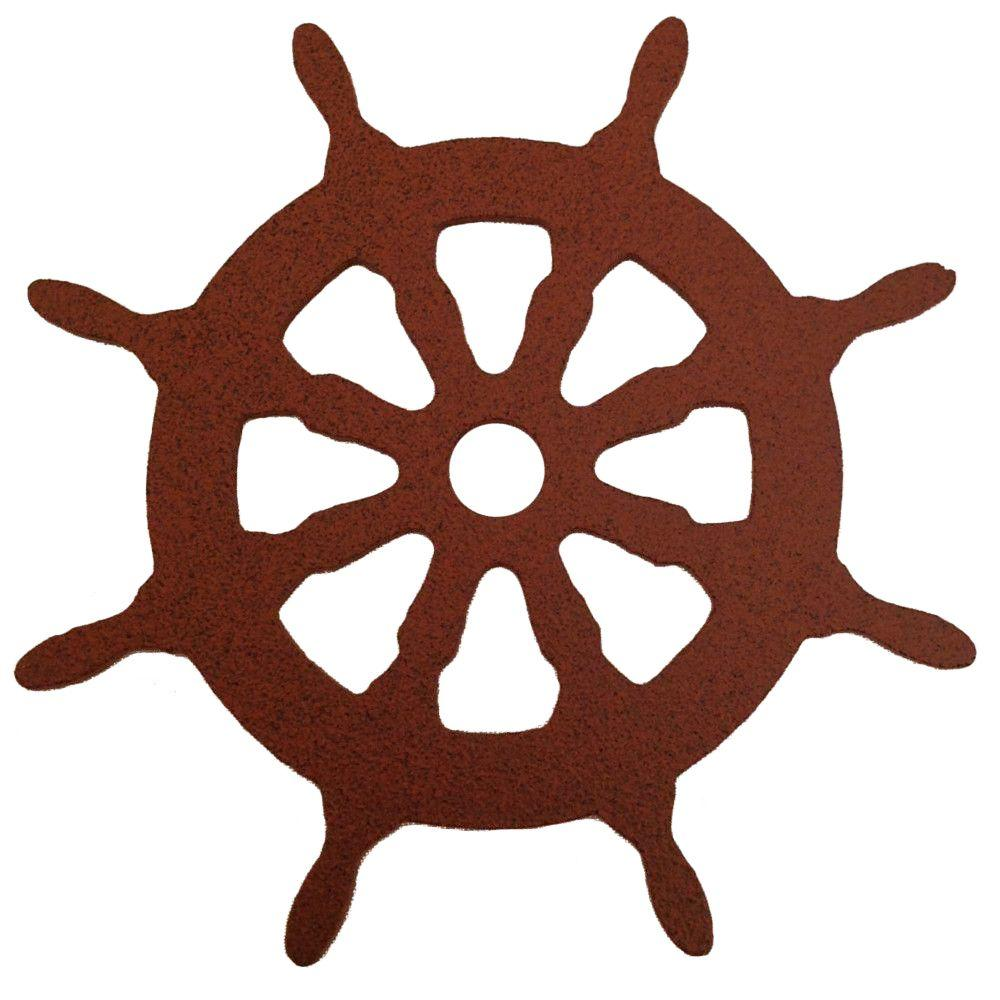 3-1/8 in. Dia Ship Wheel Decorative New Age Rust Roller Cover