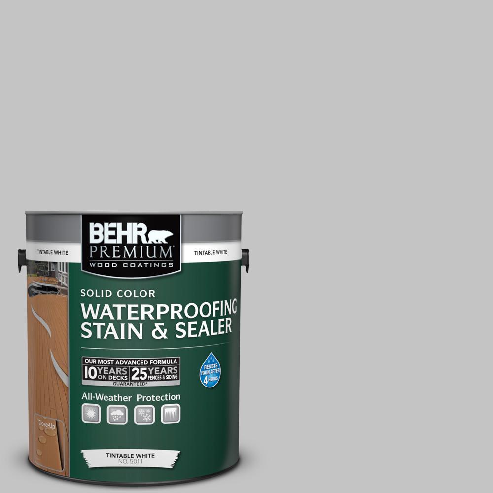 1 gal. #N520-2 Silver Bullet Solid Color Waterproofing Exterior Wood Stain and Sealer