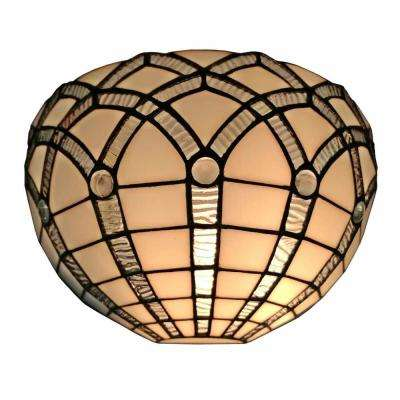 1-Light 12 in. Tiffany Style White Wall Sconce Lamp