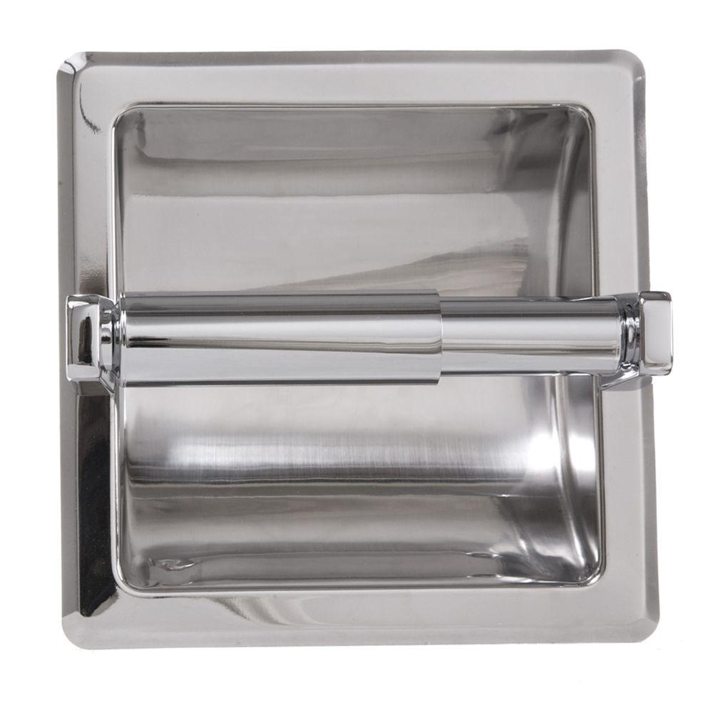 ARISTA Recessed Toilet Paper Holder with Mounting Plate in Chrome