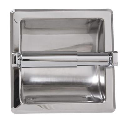 Recessed Toilet Paper Holder with Mounting Plate in Chrome