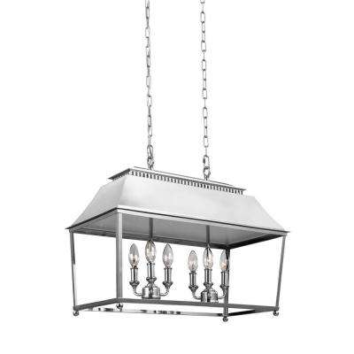 Galloway 6-Light Polished Nickel Billiard Island Chandelier with Glass Shade