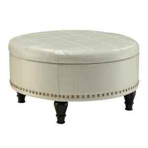 Augusta Cream Storage Ottoman by