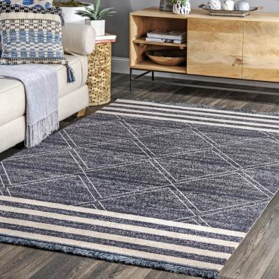 Roberge Coastal Diamond Striped Blue 8 ft. x 10 ft. Indoor/Outdoor Area Rug