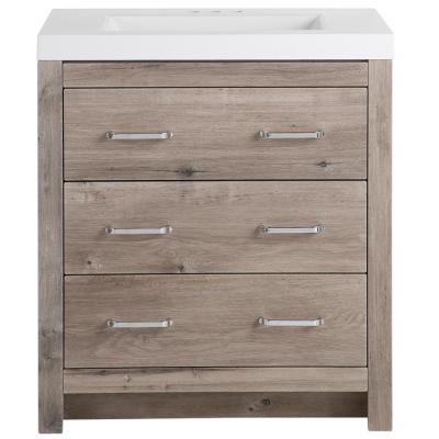 Woodbrook 31 in. W x 19 in. D Bath Vanity in White Washed Oak with Cultured Marble Vanity Top in White with White Sink