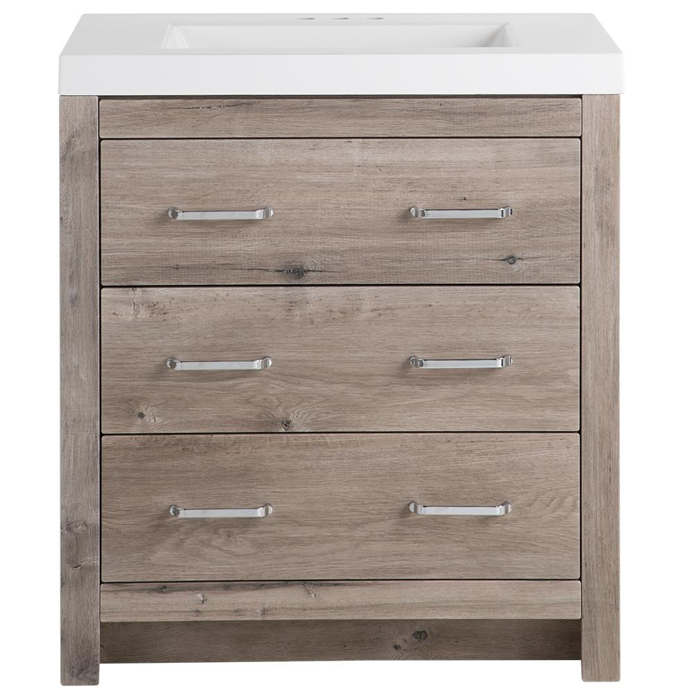 Glacier Bay Woodbrook 30 in. W x 19 in. D Bath Vanity in White Washed Oak with Cultured Marble Vanity Top in White with White Basin