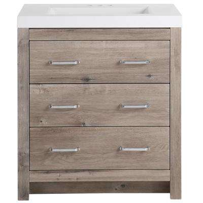 D Bath Vanity in White Washed Oak