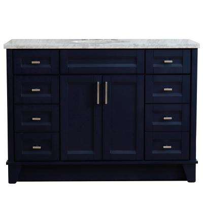 49 in. W x 22 in. D Single Bath Vanity in Blue with Marble Vanity Top in White Carrara with White Oval Basin