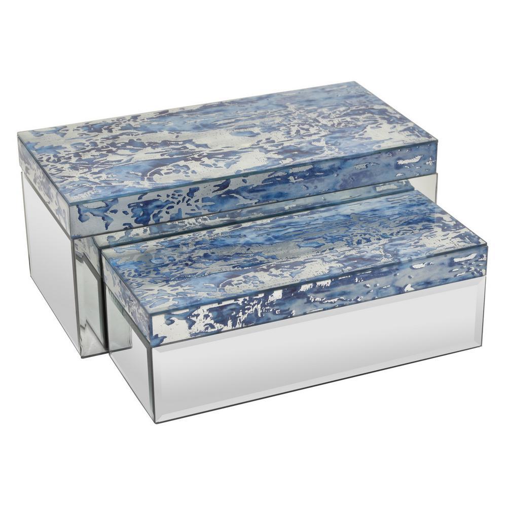 14 in. x 6.75 in. x 6 in. Glass/Mirrored Decorative Mirrored Box Set in Multi-Color Blue