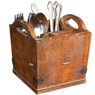 Dorian 7 in. H x 7 in. W Rustic Brown Utensil Holder