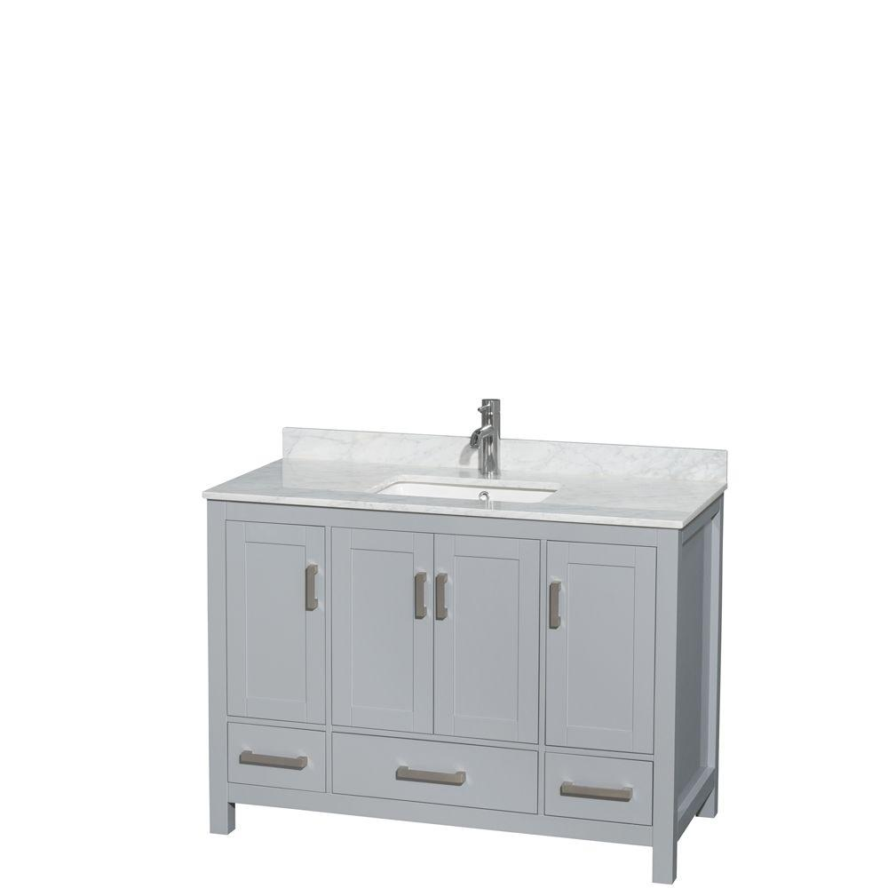 2b352526423 Wyndham Collection Sheffield 48 in. W x 22 in. D Vanity in Gray with ...