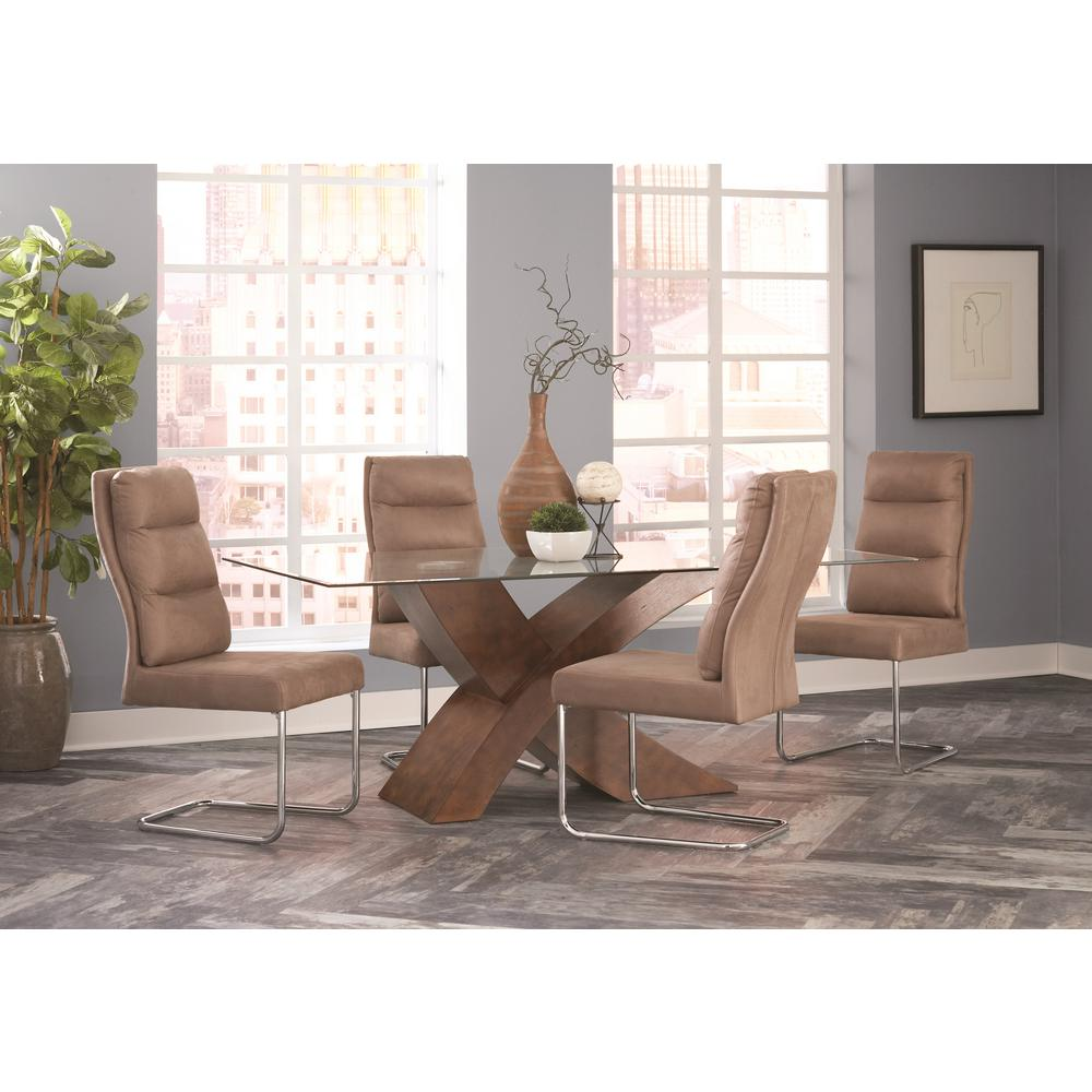 Coaster Nessa Collection Khaki/Chrome Dining Chair (Set Of 2)