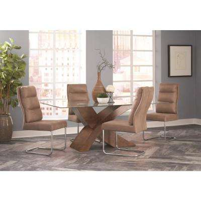 Nessa Collection Khaki/Chrome Dining Chair (Set of 2)