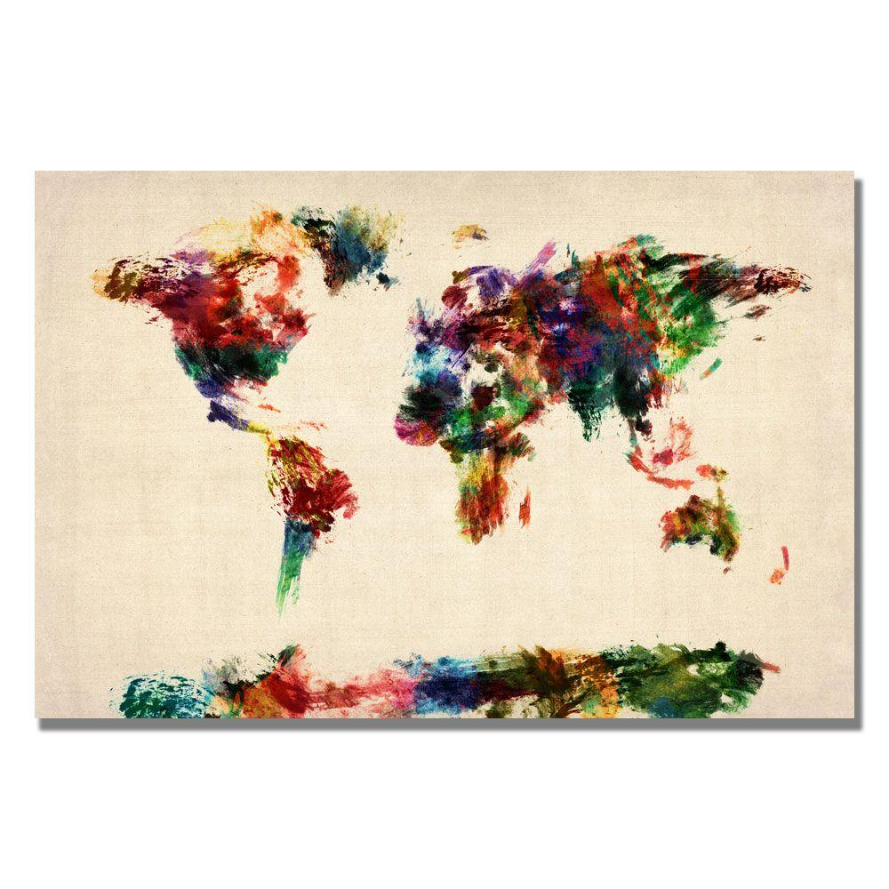 Trademark fine art 16 in x 24 in abstract painting world map trademark fine art 16 in x 24 in abstract painting world map canvas art gumiabroncs Gallery