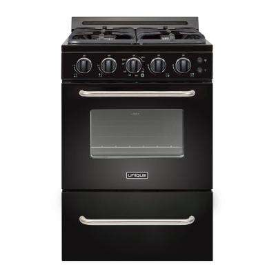 Classic Plus 24 in. 2.9 cu. ft. Gas Convection Range 4 Sealed Burners in Black