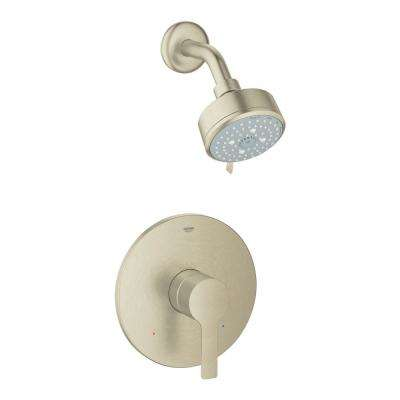 Lineare 1-Handle Wall Mount Shower and Valve Trim Kit in Brushed Nickel with WaterSense (Valve Not Included)