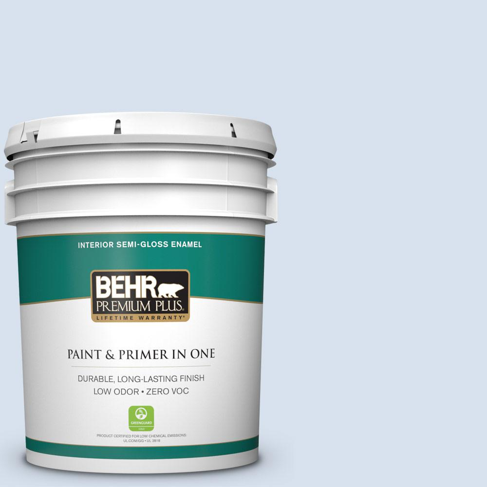 5-gal. #580A-2 Icy Bay Zero VOC Semi-Gloss Enamel Interior Paint