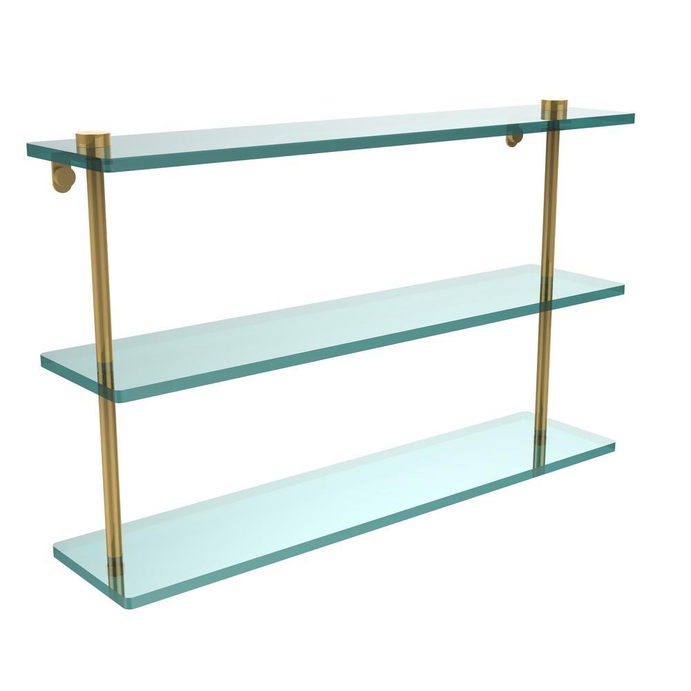 22 in. L  x 15 in. H  x 5 in. W 3-Tier Clear Glass Bathroom Shelf in Polished Brass
