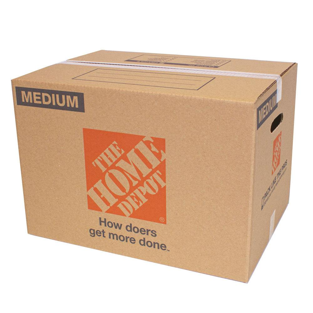 The Home Depot 21 in. L x 15 in. W x 16 in. D Medium Moving Box with Handles The Home Depot Medium Moving Box is great for storing and shipping moderately heavy or bulky items. Ideal for kitchen items, toys, small appliances and more. This box is crafted from 100% recycled material for an environmentally responsible moving and storage option.