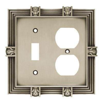 Pineapple Decorative Switch and Duplex Outlet Cover, Brushed Satin Pewter
