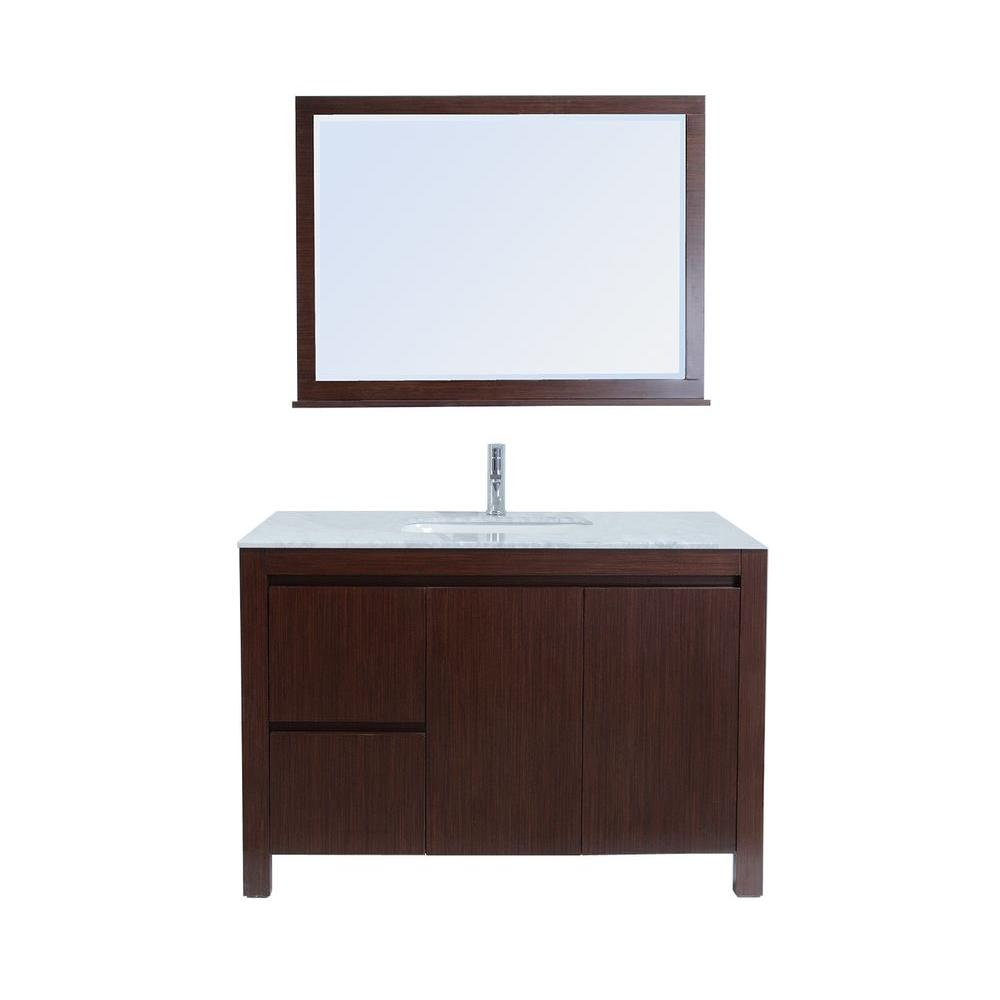 stufurhome Sierra 47 in. Single Vanity in Brown with Marble Vanity Top and Mirror in White-DISCONTINUED