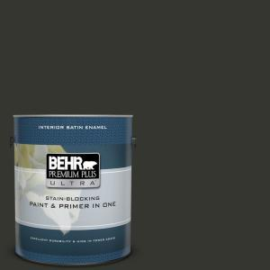 1 gal. #PPF-59 Raven Black Satin Enamel Interior Paint and Primer in One